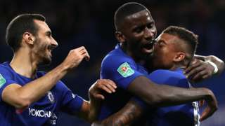 Chelsea's players celebrate scoring against Nottingham Forest