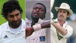 Kumar Sangakkara, Sir Curtly Ambrose and Sir Richard Hadlee