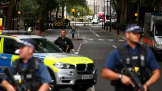 Police at the scene in Westminster