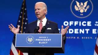 President-elect Joe Biden delivers remarks about the U.S. economy during a press briefing at the Queen Theater on November 16, 2020 in Wilmington, Delaware