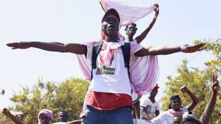 Supporters of newly elected President Umaro Cissoko Embalo celebrate on 1 January, 2020 in Bissau