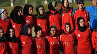 The Afghan women's football team are photographed at the South Asia Football Federation championship in Islamabad