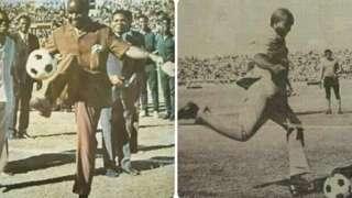 The late Kenneth Kaunda playing football