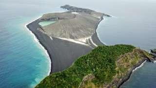 Hunga Tonga Hunga Ha'apai as seen from a drone