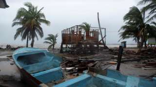 A damaged boat in Nicaragua