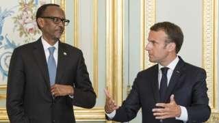 Perezida Paul Kagame w'u Rwanda na mugenzi we w'Ubufaransa Emmanuel Macron