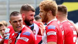Salford celebrate a try by Tui Lolohea against Hull