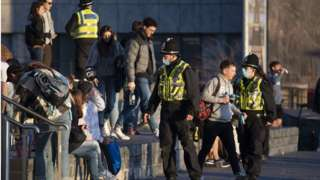 Police asked people to disperse from the Senedd steps