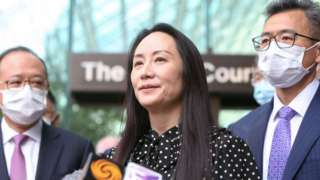 Huawei Technologies Chief Financial Officer Meng Wanzhou speaks to media outside the B.C. Supreme Court following a hearing about her release in Vancouver, British Columbia, Canada September 24, 2021.