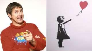 Neil Buchanan and a Banksy artwork