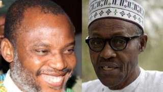 Aworan aarẹ Buhari ati Nnamdi Kanu