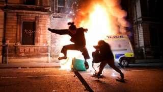 Police van on fire