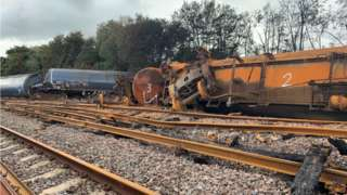 The burnt out wreckage of the train crash
