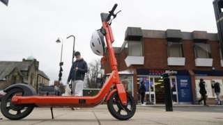 One of the e-scooters in Jesmond, Newcastle