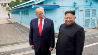 Trump meets with North Korean leader Kim Jong Un at the DMZ on the border of North and South Korea