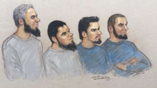 Court sketch of the four accused men