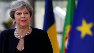 Theresa May arrives at EU summit on 22 June