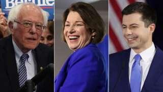Bernie Sanders, Amy Klobuchar and Pete Buttigieg