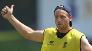 England batsman Jos Buttler gives a thumbs up while playing football in training before the second Test against Sri Lanka