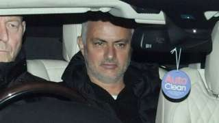 Jose Mourinho leaves Man Utd training ground on Tuesday