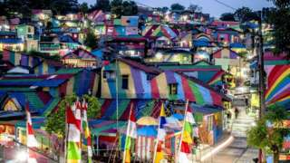"""the rainbow village"" in Semarang, central Java, attracts hordes of visitors."