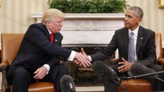 Trump and Obama shake hands