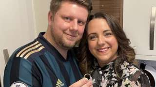 James Ross with wife Lara and his wedding ring