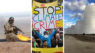 Un comando iraquí en un campo petrolero en Irak, un manifestante por el cambio climático en Alemania y paneles solares en una planta de energía en España.