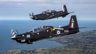 Two RAF Texan T1 aircraft over Anglesey