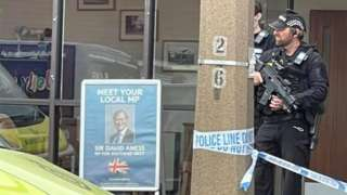 Armed police at Sir David Amess stabbing scene