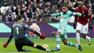 Lukasz Fabianski saves from Alexandre Lacazette