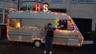 Sarah Link outside the caravan