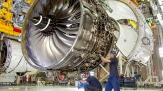 Work being carried out on a Rolls-Royce engine