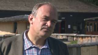 Still from TV interview with Ed Davey at zoo