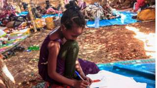 a displaced girl