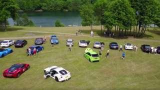Cars on a lake side break