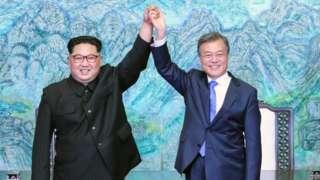 North Korean President Kim Jong-un (left) and South Korean President Moon Jae-in. Photo: 27 April 2018
