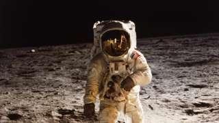 Astronaut Buzz Aldrin walks on the moon, 20 July 1969