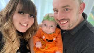 Demi-Louise Bailey with her partner and their baby girl Harper