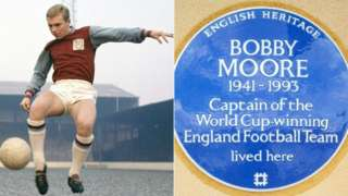 Bobby Moore playing football and blue plaque
