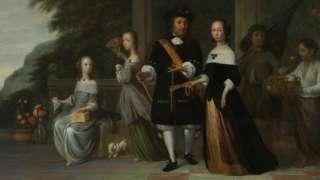 Pieter Cnoll, família e seu servente escravizado, pintura de Jacob Coema