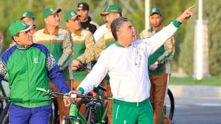 President Berdymukhammedov leading a bike ride