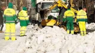 Municipal workers clear snow in Madrid, Spain. Photo: 10 January 2021