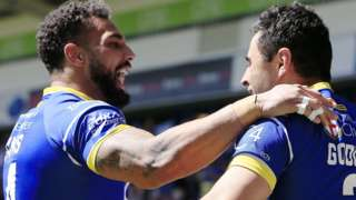 Warrington's first try-scorer Bryson Goodwin (right) is congratulated by team-mate Ryan Atkins