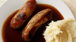 Sausages, gravy and mash
