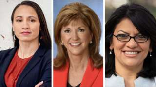 L-R Democrat Sharice Davids, Republican Susan Hutchison and Democrat Rashida Tlaib, who is almost certain to be the first Muslim woman in Congress