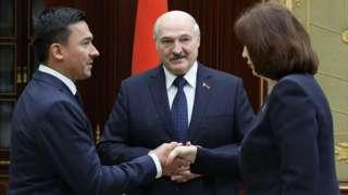 Дмитрий Басков и председатель Совета Республики Наталья Кочанова На встрече с Лукашенко