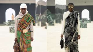 Composite of models wearing kente cloth