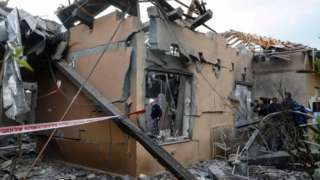 A general view shows a damaged house after it was hit by a rocket in the community of Mishmeret, north of Tel Aviv on 25 March 2019.