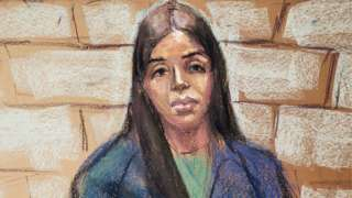 """Emma Coronel Aispuro, the wife of Mexican drug cartel boss Joaquin """"El Chapo"""" Guzmán, appears during a virtual hearing in federal court in Washington, DC, 23 February 2021"""